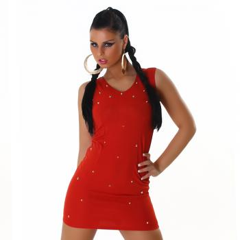 sexy GoGo Kleid Minikleid Party Dress mit Nieten Graffith Rustic Rot 34 S