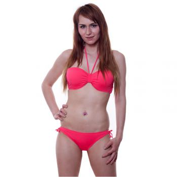 Sexy Neckholder Bikini Set Push Up Bandeau Bügel gepolsterter Swimwear rot red pink zum Binden
