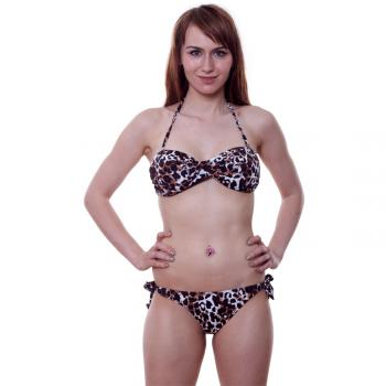 Sexy Neckholder Bikini Set Push Up Bandeau Twist animal print gepolsterter Swimwear zum Binden