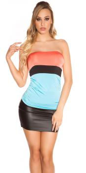 Sexy Top Colour Blocking Bandeautop 36 S CORAL TURQUOISE TÜRKIS