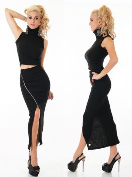 SEXY 2 TEILER STRICK ROCK + CROP TOP lang langer schwarz Emma & Ashley
