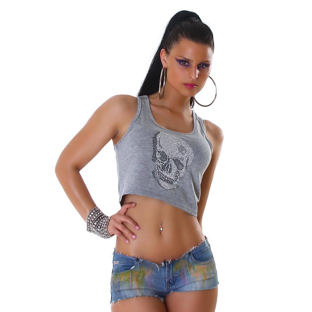 Vicy24.de - Top bauchfrei Totenkopf Shirt Tanktop T-Shirt