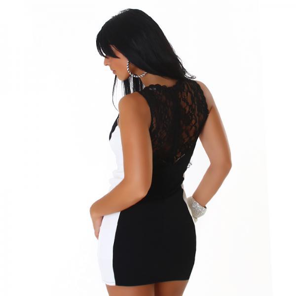 Vicy24 De 38 M Sexy Kleid Minikleid Abendkleid Partykleid Schwarz Weiss Mit Netz