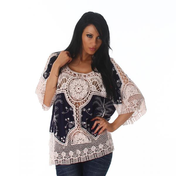 36 38 40 exklusives elegantes Top Shirt Navy