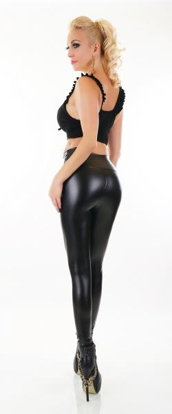 SEXY THERMO WET LOOK LEGGING HOSE THERMOLEGGING  SCHWARZ 36 S