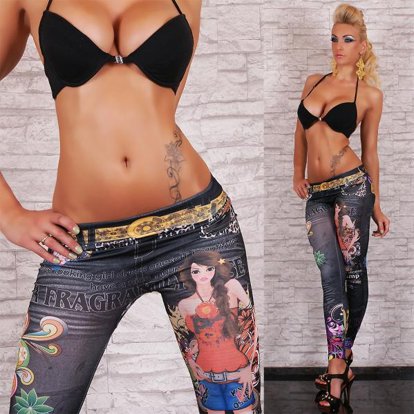 SeXy Leggings Legings Legging Sexy Leggings Tattoo Print Design Muster bunt Hose 32 34 36 38